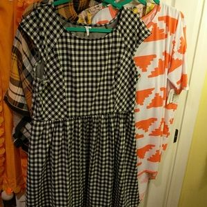 XL Elle Black White Gingham Check Knee Tea Dress